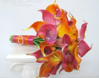 Beach bouquet, Hot pink and orange calla lily bouquet, Tropical Wedding bouquet, Destination wedding flowers