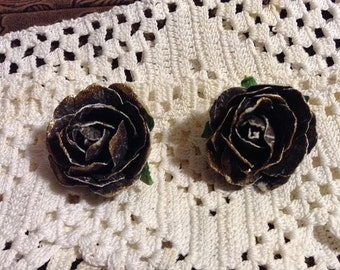 Black and Gold Paper Flower Post Earrings