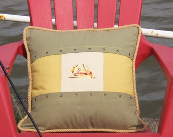 "Square Pillow Fisherman Hat 18"" x 18"" Fishing Day Collection Yellow  Beige Khaki Decorative accent textile Lodge decor Cabin Nature Sport"