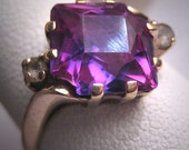 Antique Color Change Sapphire Ring Vintage Art Deco 30s Wedding Ring