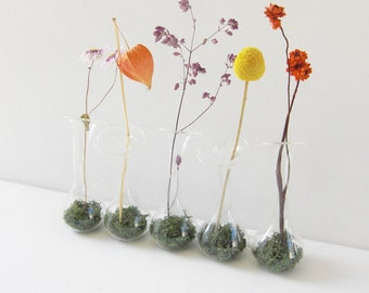 Instant Centerpiece Collection: Elements - Clear glass attached bud vases with moss and dried flowers, wedding centerpiece, table decoration