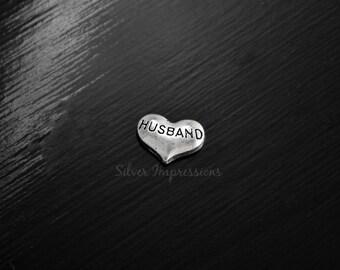 Husband Heart Locket Charm / Floating Locket Charm / Floating Locket Charm