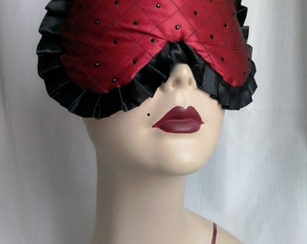 SALE Quilted Red Silk Sleep Mask Eye mask Burlesque Retro Pinup Travel Swarovski crystals - Miss Doll - Love Me Sugar HH