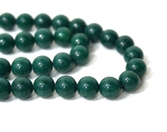 8mm Mountain Jade, Dark Green Candy Jade, Round Gemstone beads   (865S)