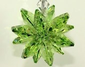 m/w Swarovski Crystal - Peridot Green Octagon Star Burst Car Charm Sun Catcher, Includes an Elements Tag for Authenticity, PearlPlaceNMore