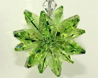 Suncatcher m/w Swarovski® crystal, Peridot Green Octagon Starburst Star Car Charm Ornament, PearlPlaceNMore