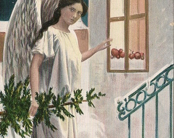 Christmas Postcard - Angel with Pine Tree  - Snowy Night