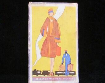 Vintage Colgate Travel Box Weekend Package Richard Hudnut Tissue Cream Fireside Bible Game