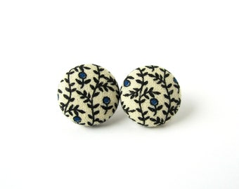 Vintage style stud earrings - blue black beige fabric covered button earrings
