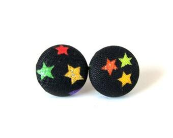 Bright star stud earrings - fabric button earrings - glitters black yellow green blue kids children