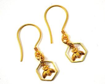 Bee Earrings, Honeybee Earrings, Bee Jewellery, Honeycomb Earrings