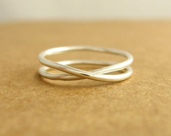 Infinity Ring, Argentium Sterling Silver, Ready To Ship