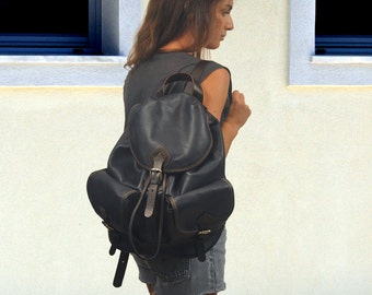 Handmade leather backpack in Dark Blue ,unisex, named Tania MADE TO ORDER