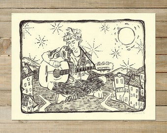 Songs For the City | Original Lithograph | DIY acoustic guitar music busking