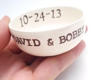 custom bridal shower gift, wedding gift, engagement gift - ring dish, jewelry dish, ring holder - custom names, wedding date, monogram