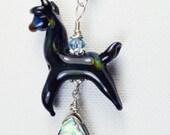 Lampwork glass alpaca bead pendant