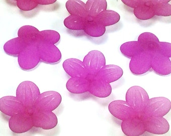 Acrylic Flower Beads, Daisy, 20x5mm, VIOLET Color, Five Petal Bead Caps, Transparent, Frosted, 1.5mm hole, Lot Size 25 to 100, #1251