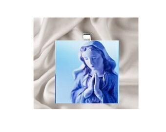 Scrabble Tile Pendant Necklace Religious Madonna