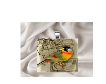 Scrabble Tile Pendant Necklace Bird