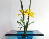 New! - Fused Glass Ikebana Dish -  Turquoise Ikebana Vase with Dichroic Glass Accents - Turquoise Fused Glass