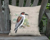 French Script and Titya Bird Pillow Cover - 12x12 14x14 16x16 18x18 20x20 22x 24x24 26x26 28x28 Inch Linen Cotton Cushion