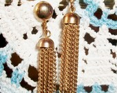 """VINTAGE CHAIN EARRINGS, Classic Brass Clip-Ons, Multiple Sections Of Dangling Chain, 2"""" Chic Pair"""