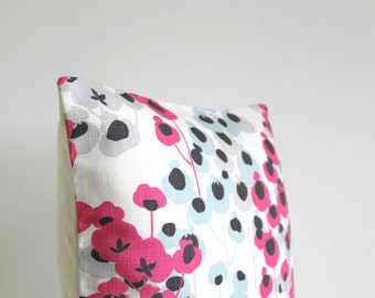 Throw Pillow Cover, Designer Pillow Sham, 18x18 Pillow Cover, 18 Inch Pillowcase, Flower cushion Cover - Delicate Flowers Hot Pink
