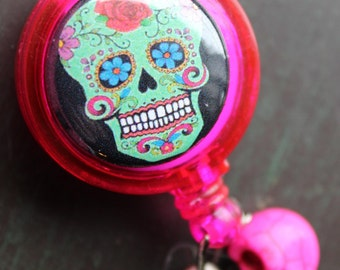 Sugar Skull Badge Holder Retractable Badge Holder