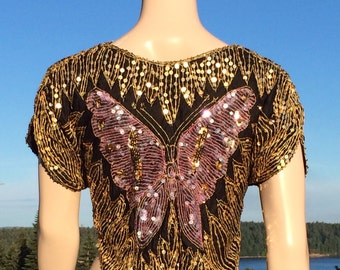 Vintage Sequin and Bead Embellished BUTTERFLY Top XS S