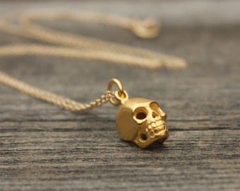 Gold Skull Necklace - Matte 24K Gold-Dipped Skull Pendant . 14K Gold-Filled Chain . Trendy Gift Ideas for Her, Friend, Teens . Goth Jewelry