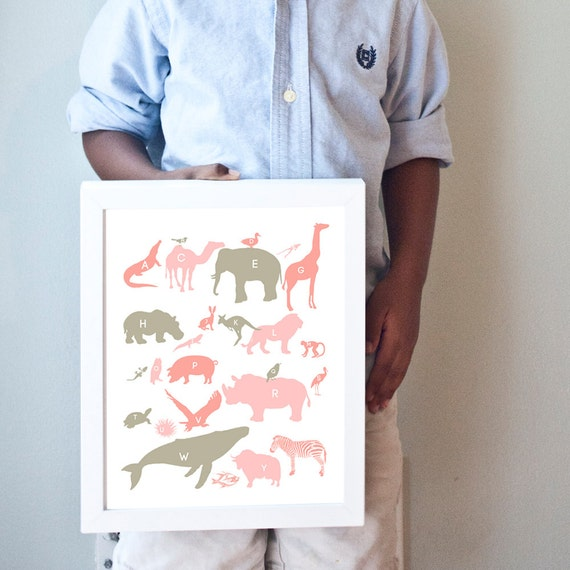 Alphabet Animals print in pinks and taupe