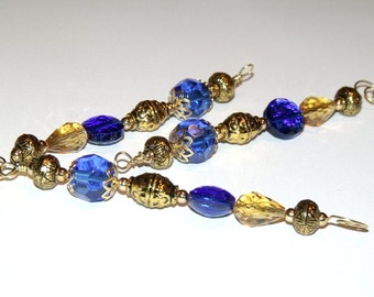 Royal Blue Antique Gold Icicle Ornaments Old Fashioned Blue Ornaments Holiday Decor