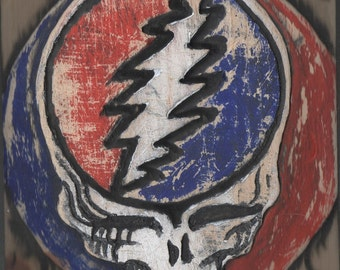 Grateful Dead, steal your face, music logo, wooden wall art, rock & roll, the 60s, hippie, Woodstock, Jerry Garcia,  MADE TO ORDER