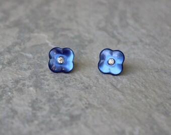 Blue Earrings, Royal Blue Stud Earrings, Royal Blue Earrings, Blue Jewelry, Sapphire Blue Earrings, Blue Bridesmaid Earrings, Blue Studs