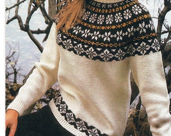 Fair Isle Knitted Jumper Pattern for Lady