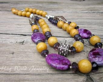 Artisan Yellow Jade Purple Agate Multi Strand Necklace