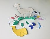 Llama Paper Doll - Paper doll, stocking stuffer, funny gift, llama, pretend, dress up, paper toy, party activity, birthday gift, joke gift