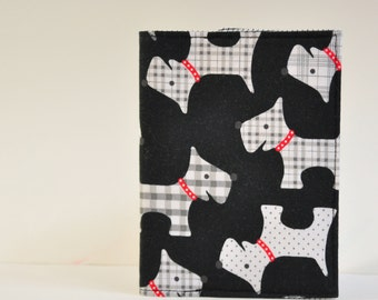 Passport Cover Sleeve Case Holder black ad white plaid scottie dogs  theme Cotton Fabric