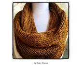 Ribbed Cowl Knitting Pattern Infinity Circle Scarf, Chunky Knit Scarf Christmas Knitting Pattern DIY