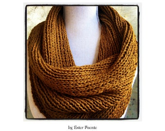 Ribbed Cowl Knitting Pattern Infinity Circle Scarf, Chunky Knit Scarf Christmas Knitting Pattern DIY