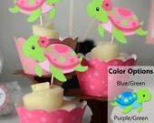 Girl Pink Ocean Sea TURTLE Birthday or Baby Shower Package Decorations - 12 Cupcake Toppers