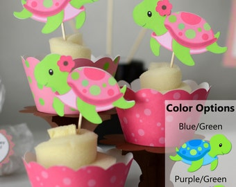 Pink Girl TURTLE First Birthday Party or Baby Shower Decorations - 12 Cupcake Toppers