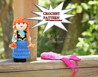 PATTERN Crochet Frozen Anna Amigurumi Doll