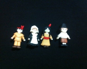 Pilgrims & Indians Plastic  Buttons/ Sewing supplies / DIY supplies / Novelty Buttons / Party Supplies / Kids craft supplies
