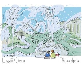 Philadelphia: Logan Circle Fountain fine art print 2 sizes
