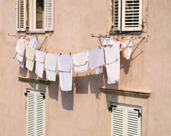 Laundry Art Print - Dubrovnik Croatia Photography - Rustic Mediterranean Decor - Peach Art Pastel Photo European Travel Photography