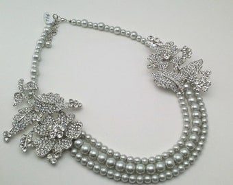 Statement Bridal Necklace, Multi Strand Silver Pearl Necklace, Rhinestone Wedding Necklace - 20% off PN19