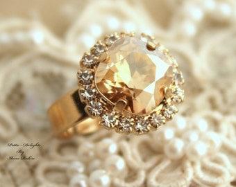 Topaz champagne adjustable ring Rhinestones - 14k 1 Micron thick plated gold adjustable ring real swarovski rhinestones.