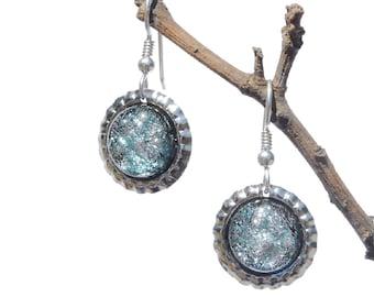 Mini Bottle Cap Dichroic Glass Earrings, Fused Glass Jewelry, Sterling Silver Hooks - Winter, Nebula, Galaxy - Silver Blue (Item #30828-E)
