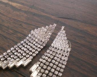 Vintage Rhinestone Dangle Earrings Silver Tone Silver Tone Vintage Pierced 1970s Angular Geometric Chandelier Bridal GallivantsVintage